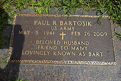 31 August 2017:   Veterans graves in Park Hill Cemetery in eastern McLean County.<br /> <br /> Paul R Bartosik  US Army  May 5 1941  Feb 26 2009  Beloved Husband Friend to Many Lovingly known as Bart
