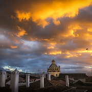 Fine art creation of a town view and roofs over Granada.
