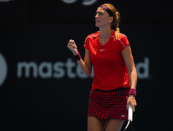January 8, 2019 - Sidney, AUSTRALIA - Petra Kvitova of the Czech Republic in action during her first round match at the 2019 Sydney International WTA Premier tennis tournament (Credit Image: © AFP7 via ZUMA Wire)
