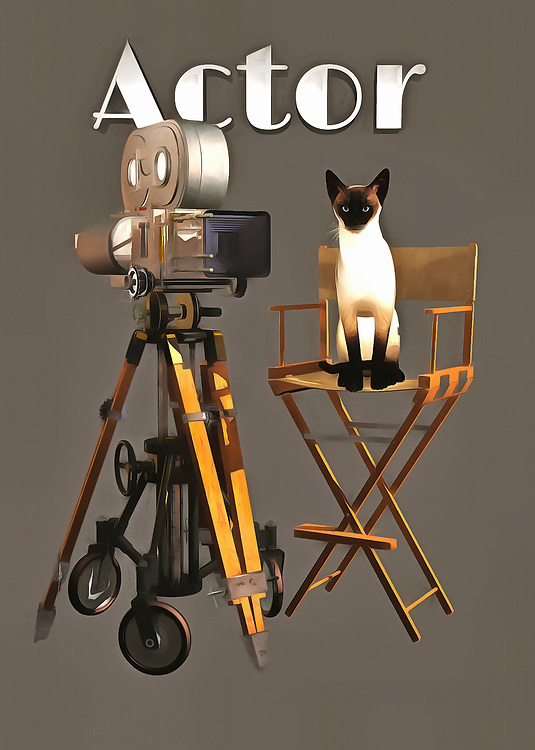 Lights! Camera! Action! This vintage-style filmmaking camera is a nice contrast to the Siamese cat that is featured in this unique fine art offering. The cat is clearly the star of the show. You can get a sense of that with the way the cat maintains a certain poise, and a certain understanding of everything that is going on. This cat knows it is a star, and it won't perform until it is good and ready! The detail in this piece is what gives this art such a distinctive flair. This cat is a brilliant actor, and it's a shame that we can't see that for ourselves! .<br />