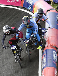 August 11, 2018 - Glasgow, UNITED KINGDOM - Belgian BMX cyclist Ruben Gommers pictured in action during the 1/8 finals of the men's BMX event at the European Championships, in Glasgow, Scotland, Saturday 11 August 2018. European championships of several sports will be held in Glasgow from 03 to 12 August. BELGA PHOTO ERIC LALMAND (Credit Image: © Eric Lalmand/Belga via ZUMA Press)