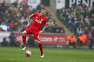 Martin Skrtel of Liverpool in action. Barclays Premier league match, Swansea city v Liverpool  at the Liberty Stadium in Swansea, South Wales on Sunday 1st May 2016.<br /> pic by  Andrew Orchard, Andrew Orchard sports photography.