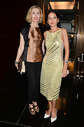 Left to right, ALLEGRA HICKS and YASMIN MILLS at the Launch Of Alain Ducasse's Rivea Restaurant At The Bulgari Hotel, 171 Knightsbridge, London on 8th May 2014.