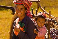 Grandmother and baby, Pao tribe people, Shan State, Myanmar (Burma)