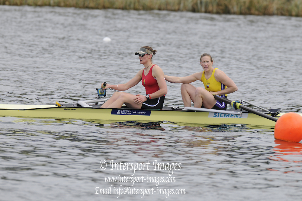 Eton, United Kingdom    GBR W2-. A Final.  Bow Helen GLOVER and Heather STANNING,  winning the women's pair, at the Sunday Final, 2012 GB Rowing Trials, Dorney Lake. Near Windsor Berks Sunday  11/03/2012  [Mandatory Credit; Peter Spurrier/Intersport-images]