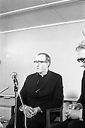 Archbishop Ryan Returns From Rome..1972..16.02.1972..02.16.1972..16th February 1972..After his official appointment as Archbishop of Dublin by Pope Paul VI, Dr Dermot Ryan returned to Dublin for his installation as Archbishop on Feb 22nd at the Pro Cathedral,Dublin..To congratulate Dr Dermot Ryan on his appointment of Archbishop of Dublin a press conference was held at Dublin Airport,where he spoke of his meeting with Pope PaulVI.