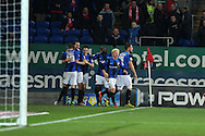 Barnsley's players celebrate the Stephen Foster equaliser to make it 1-1.  Npower championship, Cardiff city v Barnsley at the Cardiff city stadium in Cardiff, South Wales on Tuesday 9th April 2013. pic by Andrew Orchard,  Andrew Orchard sports photography,