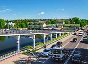 Augustów, centrum miasta, kładka dla pieszych w pobliżu portu.