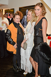 Left to right, JAIME WINSTONE, ALICE NAYLOR-LEYLAND and ARIZONA MUSE at a party to celebrate the launch of the Maddox Gallery at 9 Maddox Street, London on 3rd December 2015.