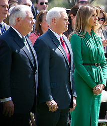 United States Secretary of State Rex Tillerson, US Vice President Mike Pence, and first lady Melania Trump await the arrival of US President Donald J. Trump and King Abdullah II of Jordan prior to a joint press conference in the Rose Garden of the White House in Washington, DC on Wednesday, April 5, 2017.<br /> Credit: Ron Sachs / CNP *** Please Use Credit from Credit Field ***