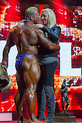 March 1, 2014 - Columbus, Ohio, U.S - <br /> <br /> Bodybuilding 2014 - Arnold Classic<br /> <br /> DENNIS WOLF and wife KATJA embrace after Wolf won the 2014 Arnold Classic at the Arnold Sports Festival in Columbus, Ohio. <br /> ©Exclusivepix