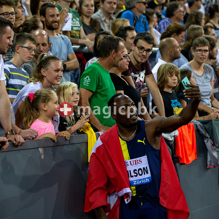 Alex WILSON of Switzerland poses for a selfie with a fan after competing in the Men's 100m during the Iaaf Diamond League meeting (Weltklasse Zuerich) at the Letzigrund Stadium in Zurich, Switzerland, Thursday, Aug. 29, 2019. (Photo by Patrick B. Kraemer / MAGICPBK)
