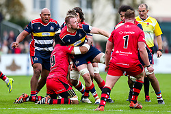 Joe Joyce of Bristol Rugby is tackled by Uili Kolo'ofa'i of Jersey Reds - Rogan/JMP - 28/10/2017 - RUGBY UNION - Stade Santander International - St Peter, Jersey - Jersey Reds v Bristol Rugby - Greene King IPA Championship.