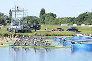 Eton Dorney, Windsor, Great Britain,..2012 London Olympic Regatta, Dorney Lake. Eton Rowing Centre, Berkshire[ Rowing]...Description;  GBR W4X Race start GBR W4X.   10:00:00  Saturday  28/07/2012.[Mandatory Credit: Peter Spurrier/Intersport Images].