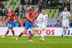 November 15, 2018 - Gdansk, Poland, TOMAS SOUCEK from Czech Republic (L) and PIOTR ZIELINSKI from Poland (R) during football friendly match between Poland - Czech Republic at the Stadion Energa in Gdansk, Poland