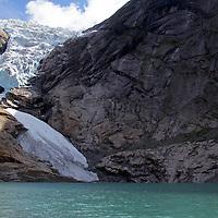 Europe, Norway, Olden. Briksdal Glacier and  Briksdalsbrevatnet Lake.