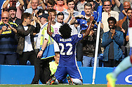 Willian of Chelsea celebrates after scoring his sides 2nd goal to make it 2-0. Premier league match, Chelsea v Burnley at Stamford Bridge in London on Saturday 27th August 2016.<br /> pic by John Patrick Fletcher, Andrew Orchard sports photography.