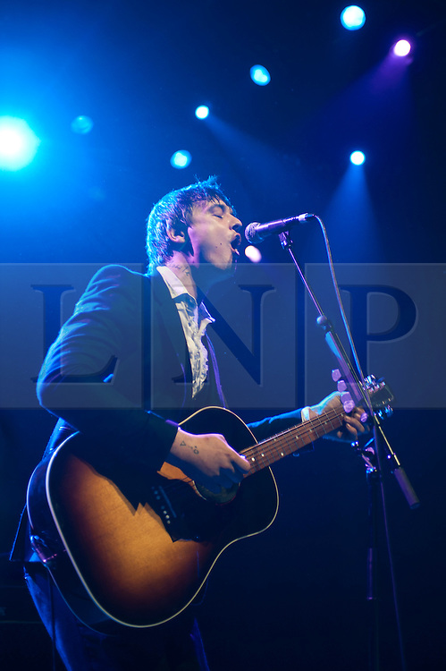 © licensed to London News Pictures. London, UK. Pete Doherty live at Shepherds Bush Empire in London on May 10, 2011, his first solo gig since reforming The Libertines last year. Please see special instructions for usage rates. Photo credit should read Marcia Petterson/LNP