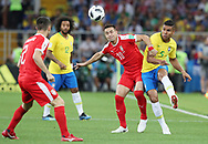Casemiro of Brazil and Dusan Tadic of Serbia during the 2018 FIFA World Cup Russia, Group E football match between Erbia and Brazil on June 27, 2018 at Spartak Stadium in Moscow, Russia - Photo Tarso Sarraf / FramePhoto / ProSportsImages / DPPI