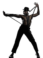 one  african man dancer dancing cabaret burlesque on studio isolated white background