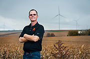 Brodie Dockendorf and Scott Glennending portraits and Quilt Block wind farm in Darlington, Wisconsin, Friday, October 27, 2017.