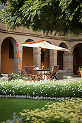 Monasterio Hotel courtyard, a 16th century Spanish colonial Palace, Cusco Peru, South America