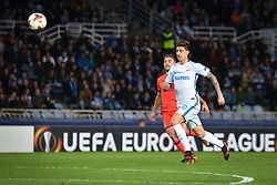December 7, 2017 - San Sebastian, Basque Country, Spain - Emiliano Rigoni of Zenit duels for the ball with Kevin Rodrigues of Real Sociedad during the UEFA Europa League Group L football match between Real Sociedad and Zenit at the Anoeta Stadium, on 7 December 2017 in San Sebastian, Spain  (Credit Image: © Jose Ignacio Unanue/NurPhoto via ZUMA Press)