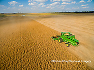 63801-09116 Soybean Harvest, John Deere combine harvesting soybeans - aerial - Marion Co. IL