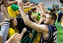 Goran Jagodnik of Hopsi with fans after the basketball match between KK Krka and KK Hopsi Polzela in 3rd Semifinal match of Telemach League 2013/14, on May 17, 2014 in Sportna dvorana Leona Stuklja, Novo mesto, Slovenia. Photo by Vid Ponikvar / Sportida