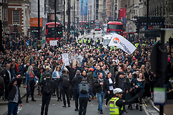 © Licensed to London News Pictures. 20/03/2021. London, UK. Thousands of protesters gather on Piccadilly during a Rally for Freedom in central London, to protest against the continued lockdown restrictions imposed to fight the spread of coronavirus. Similar events are taking place at cities around the world. Photo credit: Ben Cawthra/LNP