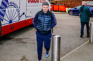Wimbledon coach Simon Bassey arrives during the The FA Cup 3rd round match between Fleetwood Town and AFC Wimbledon at the Highbury Stadium, Fleetwood, England on 5 January 2019.