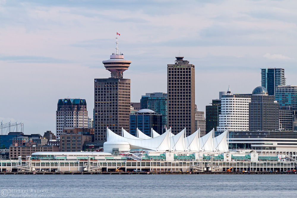 View of Canada Place,  Harbour Center and other Vancouver buildings from North Vancouver, British Columbia, Canada