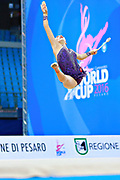 Staniouta Melitina during qualifying at clubs in Pesaro World Cup 02 April 2016. Melitina is an Belarusian rhythmic gymnast, she was born in 15 November 1993 Minsk. She is a three time World All-around bronze medalist in 2015, 2013, 2010 retired from rhythmic gymnastics in December 2016.