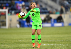 February 27, 2019 - Chester, PA, U.S. - CHESTER, PA - FEBRUARY 27: Brazil Keeper Aline (12) throws a pass in the first half during the She Believes Cup game between Brazil and England on February 27, 2019 at Talen Energy Stadium in Chester, PA. (Photo by Kyle Ross/Icon Sportswire) (Credit Image: © Kyle Ross/Icon SMI via ZUMA Press)