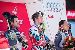 18.12.2016, Grand Risa, La Villa, ITA, FIS Ski Weltcup, Alta Badia, Riesenslalom, Herren, Siegerpräsentation, im Bild Mathieu Faivre (FRA, 2. Platz), Marcel Hirscher (AUT, 1. Platz), Florian Eisath (ITA, 3. Platz) // second placed Mathieu Faivre of France, race winner Marcel Hirscher of Austria, third placed Florian Eisath of Italy during the winner presentation for the men's Giant Slalom of FIS ski alpine world cup at the Grand Risa race Course in La Villa, Italy on 2016/12/18. EXPA Pictures © 2016, PhotoCredit: EXPA/ Johann Groder