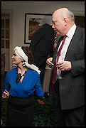 LADY EMMA KITCHENER; JULIAN FELLOWES; , The hon Alexandra Foley hosts drinks to introduce ' Lady Foley Grand Tour' with special guest Julian Fellowes. the Sloane Club. Lower Sloane st. London. 14 May 2014