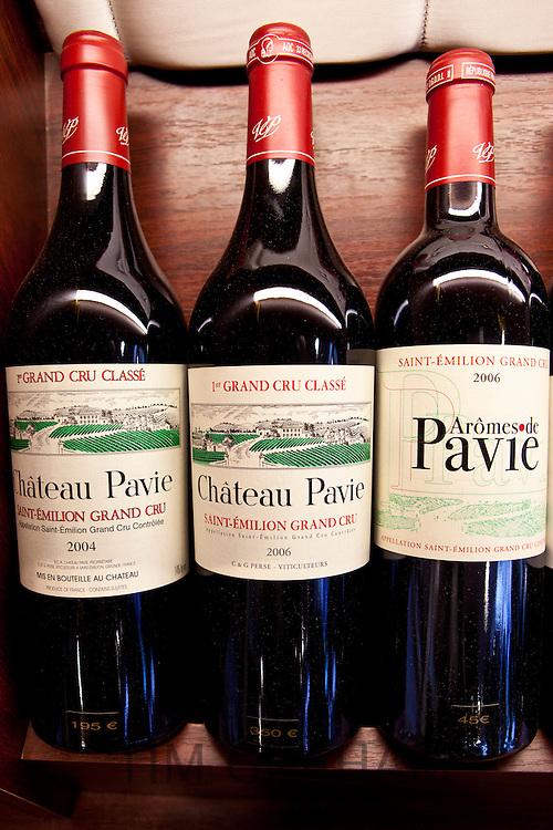 Fine wine Chateau Pavie 1er Grand Cru Classe 2006 and 2004 vintage and Aromes de Pavie in Vignobles et Chateaux shop in St Emilion, Bordeaux, France