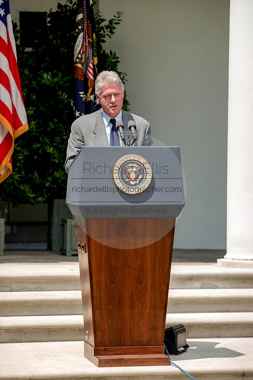US President Bill Clinton condemns the recent bombings in Nairobi, Kenya and Dar es Salaam, Tanzania, in the Rose Garden of the White House August 7, 1998 in Washington, DC.
