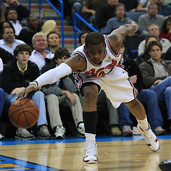 28 January 2009: New Orleans Hornets guard Chris Paul (3) reaches for a loose ball during a 94-81 win by the New Orleans Hornets over the Denver Nuggets at the New Orleans Arena in New Orleans, LA. The Hornets wore special throwback uniforms of the former ABA franchise the New Orleans Buccaneers for the game as they honored the Bucs franchise as a part of the NBA's Hardwood Classics series. .