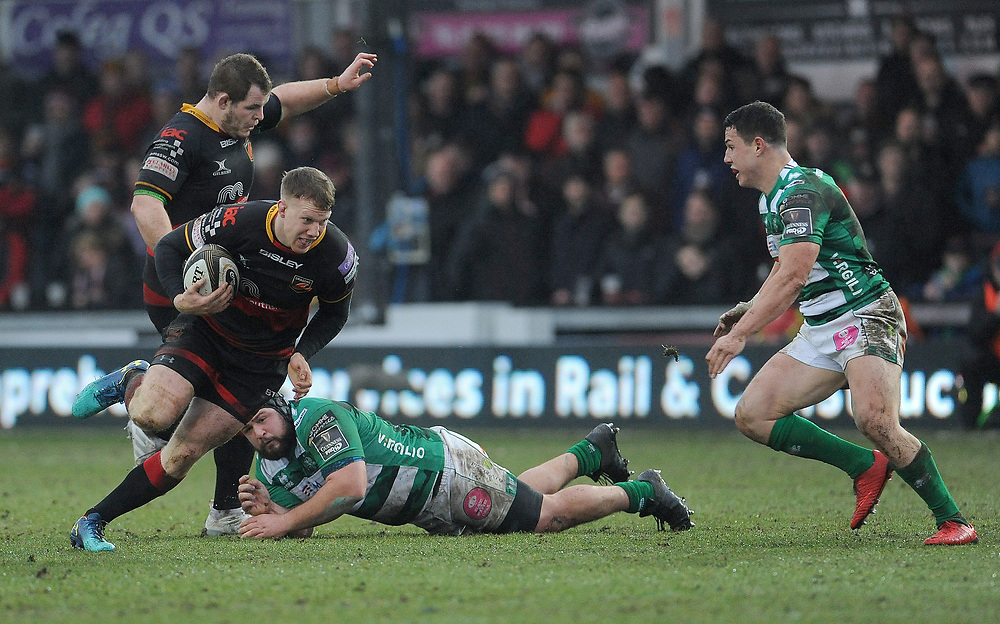 Dragons' Jack Dixon in action during todays match<br /> <br /> Photographer Ian Cook/CameraSport<br /> <br /> Guinness Pro14 Round 15 - Dragons v Benetton Rugby - Sunday 18th February 2018 - Rodney Parade - Newport<br /> <br /> World Copyright © 2018 CameraSport. All rights reserved. 43 Linden Ave. Countesthorpe. Leicester. England. LE8 5PG - Tel: +44 (0) 116 277 4147 - admin@camerasport.com - www.camerasport.com