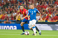 Spain's Koke Resurrección and Italy's Marco Verratti during match between Spain and Italy to clasification to World Cup 2018 at Santiago Bernabeu Stadium in Madrid, Spain September 02, 2017. (ALTERPHOTOS/Borja B.Hojas)