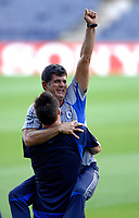 Photo: Richard Lane.<br />Chelsea training session. UEFA Champions League. 30/10/2006. <br />Chelsea captain John Terry and assistant manager, Baltemar Brito share a joke.