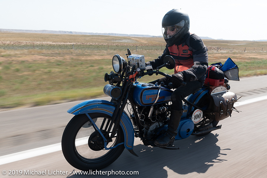 The Doobie Brothers' Pat Simmons riding his 1928 Harley-Davidson JD in the Motorcycle Cannonball coast to coast vintage run. Stage 9 (294 miles) from Pierre to Sturgis, SD. Sunday September 16, 2018. Photography ©2018 Michael Lichter.