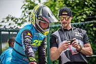 #241 (GOMMERS Ruben) BEL and coach, Raymon van der Biezen during practice at Round 5 of the 2018 UCI BMX Superscross World Cup in Zolder, Belgium