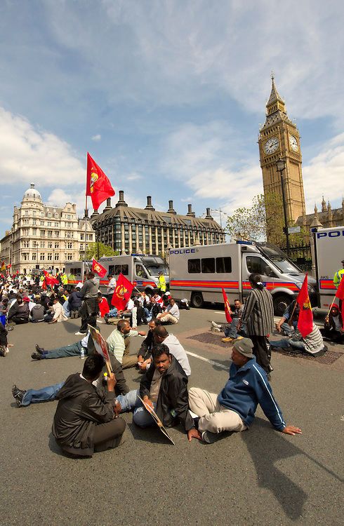 London May 11th New day of protest in Parliament Square where the Tamil organization are asking for ceasefire the day after several huncreds civilian lost their life in heavy shelling. Several roads in the city centre have been blocked....Standard Licence feee's apply  to all image usage.Marco Secchi - Xianpix tel +44 (0) 845 050 6211 .e-mail ms@msecchi.com .http://www.marcosecchi.com