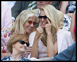 July 3, 2018 - London, London, United Kingdom - Image licensed to i-Images Picture Agency. 03/07/2018. London, United Kingdom. Joey Richardson and Tess Daly share in a joke in the Royal box on day two of the Wimbledon Tennis Championships in London. (Credit Image: © Stephen Lock/i-Images via ZUMA Press)