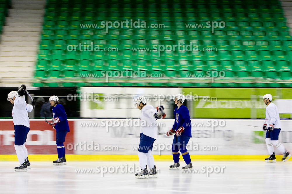Players at first practice of Slovenian National Ice hockey team before World championship of Division I - group B in Ljubljana, on April 5, 2010, in Hala Tivoli, Ljubljana, Slovenia.  (Photo by Vid Ponikvar / Sportida)