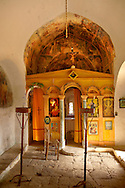 Interior of the Byzantine church of the Metamorphosis, Paliachora,  Aegina, Greek Saronic Islands .<br /> <br /> If you prefer to buy from our ALAMY PHOTO LIBRARY  Collection visit : https://www.alamy.com/portfolio/paul-williams-funkystock/aegina-greece.html <br /> <br /> Visit our GREECE PHOTO COLLECTIONS for more photos to download or buy as wall art prints https://funkystock.photoshelter.com/gallery-collection/Pictures-Images-of-Greece-Photos-of-Greek-Historic-Landmark-Sites/C0000w6e8OkknEb8