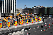 Work continues for the redevelopment of Paradise as the Coronavirus lockdown continues, the city centre is still very quiet while more traffic and people are returning, and with restrictions due to be relaxed further in the coming days, the quiet city may be coming to an end as businesses are set to start to reopen soon on 27th May 2020 in Birmingham, England, United Kingdom. Paradise, formerly named Paradise Circus, is the name given to an area of approximately 7 hectares in Birmingham city centre between Chamberlain and Centenary Squares. The area has been part of the civic centre of Birmingham since the 19th century. From 2015 Argent Group will redevelop the area into new mixed use buildings and public squares. Coronavirus or Covid-19 is a respiratory illness that has not previously been seen in humans. While much or Europe has been placed into lockdown, the UK government has put in place more stringent rules as part of their long term strategy, and in particular social distancing.