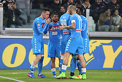 February 28, 2017 - Turin, Turin, Italy - José Maria Callejón (SSC Napoli) is congratulated by teammates after scoring  a goal during the Italian Cup semi-final between Juventus FC and SSC NAPOLI at Juventus Stadium on February 28, 2017 in Turin, Italy. Juventus wins  3-1 over Napoli. (Credit Image: © Massimiliano Ferraro/NurPhoto via ZUMA Press)